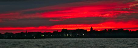 Bemidji, Minnesota after red sunset from Lake Bemidji. In summer stock photo