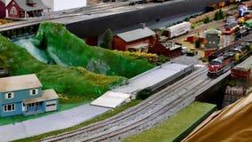 BEMIDJI, MN - 14 MAY 2016: Toy Train Models Operating On Mockup Railroad.