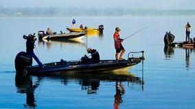 Bemidji, MN USA - August 12, 2017: College bass fishing championship winners. On Lake Irving royalty free stock photos