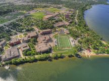 Bemidji-staatliche Universität ist ein College in einer Stadt in Mittel-Minnesota auf den Ufern von einem See mit dem gleichen Na stockfotografie
