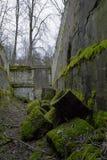 Bemoste ruïnes van ingang aan verlaten sovjetfort in Letland Stock Foto