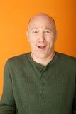 Bemused Bald Caucasian Man Stock Images