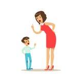 Bemuttern Sie das Schreien an ihrem Sohn, negative Gefühlkonzept-Vektor Illustration Stockfotos