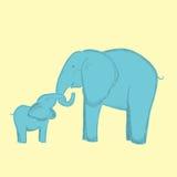 Bemuttern Sie Elefanten und Babyelefant umarmt den Stamm Stockfotos