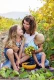 Bemuttern Sie mit dem Jungen und dem Mädchen mit zwei Babys im Weinberg Stockfotos