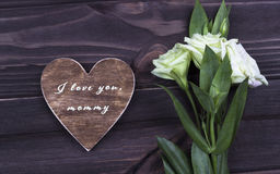 Bemuttern Sie ` s Tageskarte mit Text ich liebe dich Mama Lizenzfreie Stockfotografie