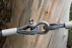 Bemyndiga skydd med stålkablar Arkivbild