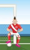 Benägenhet för tecknad filmfotbollspelare på målstolpe royaltyfri illustrationer