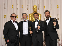 Ben Affleck,George Clooney. George Clooney, Grant Heslov & Ben Affleck with Jack Nicholson at the 85th Academy Awards at the Dolby Theatre, Los Angeles. February Stock Photos