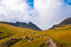 Ben Arthur - The Cobbler. A path in a green field leading to the summit - The Cobbler - Scotland Stock Photography