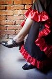Ben av den iklädda dräkten för kvinna av flamencodansaren Arkivbild