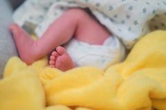 Ben av nyfött behandla som ett barn, förtjusande behandla som ett barn fot på den mjuka filten Royaltyfria Bilder