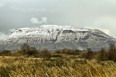 Ben Bulbin, Co. Sligo, Ireland. Ice and snow covered mountain Stock Image
