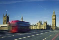 Ben and bus crossing the bridge Stock Image
