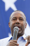 Ben Carson close up in front of a US flag stars, August 2015 Royalty Free Stock Images