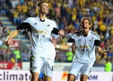 Ben Davies και Michu σε Petrolul ploiesti-Σουώνση FC Στοκ φωτογραφία με δικαίωμα ελεύθερης χρήσης