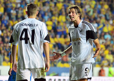 Ben Davies and Michu in Petrolul Ploiesti-Swansea FC. Swansea's Michu argues with Rory Donnelly during the Europa League play off game between Petrolul Ploiesti Stock Photo