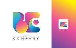 BEN de Mooie Kleuren van Logo Letter With Rainbow Vibrant Kleurrijk t Royalty-vrije Stock Afbeelding