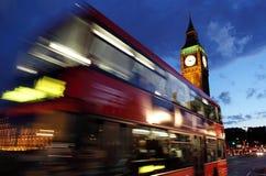 ben duży autobusowa London noc czerwień Zdjęcia Royalty Free