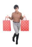 ben för bakgrundspåsebegrepp som shoppar den vita kvinnan Royaltyfri Fotografi