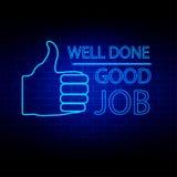 Ben fatto ed illustrazione al neon di vettore di stile di buon lavoro Immagine Stock Libera da Diritti