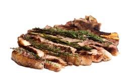 Ben fatto maggiorane dei rosmarini della bistecca del barbecue Fotografia Stock Libera da Diritti