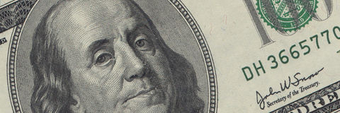Ben Franklin $100 bill Stock Images