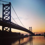 Ben Franklin Bridge. At sunrise in Philadelphia Stock Photos