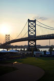 Ben Franklin Bridge & Campbell's Field Royalty Free Stock Image