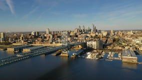 Ben Franklin Bridge Delaware River Camden NJ Philadephia Pennsylvania stock video