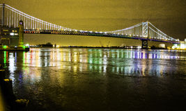 Ben Franklin Bridge. I was in the area taking pictures of the bridge with its lights changing colors one color at a time, when all of a sudden the lights started Royalty Free Stock Photography