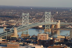 The Ben Franklin Bridge in Philadelphia. The Ben Franklin Bridge in Philadelphia across the Delaware River, as seen from City Hall tower Stock Photography