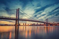 Ben Franklin Bridge in Philadelphia. At sunset Stock Photo