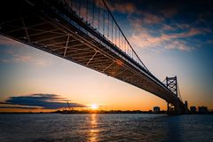 Ben Franklin bridge and Philadelphia rising at dawn. royalty free stock photos