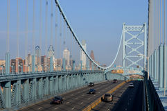 Ben Franklin Bridge. With the Philadelphia skyline in the background royalty free stock image
