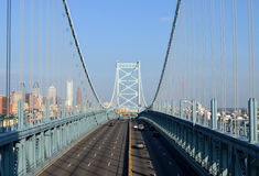Ben Franklin Bridge. With the Philadelphia skyline in the background Stock Photography