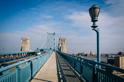 The Ben Franklin Bridge Walkway, in Philadelphia, Pennsylvania. Royalty Free Stock Photos