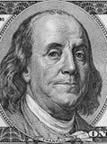 Ben Franklin. Closeup of Benjamin Franklin on hundred dollar American banknote Stock Image