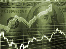 Ben Franklin con el gráfico de la bolsa stock de ilustración
