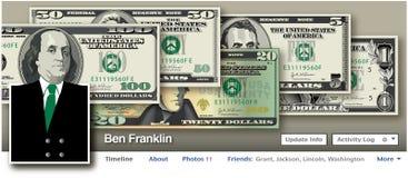 Ben Franklin en un medios ajuste social Imagenes de archivo