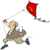 Ben Franklin flying a kite. This illustration depicts Benjamin Franklin running with a red kite flying behind him royalty free illustration