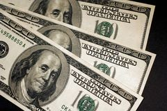 Ben Franklin on Hundred. Picture of Ben Franklin on one hundred dollar bill Stock Image