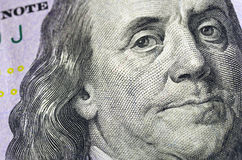 Ben Franklin Hundred Dollar Bill Macro. Close up of Benjamin Franklin's face on a $100 bill Royalty Free Stock Image