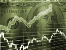 Ben Franklin mit Börseen-Diagramm Stockfotos