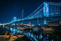 Ben Franklin most Filadelfia Pennsylwania przy nocą Fotografia Royalty Free