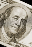 Ben Franklin Portrait. From Hundred Dollar Bill of American Currency, narrow focus on eyes stock images