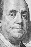 Ben Franklin Portrait. Portrait of Ben Franklin as he appears on a one hundred dollar bill Stock Photo
