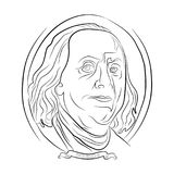Ben franklin portrait from one hundred dollars contour drawing in pencil stock illustration