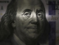 Ben Franklin's face on a bill of U.S. $ 100. Ben Franklin's face Close up on a bill of U.S. $ 100 Royalty Free Stock Photography