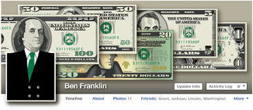 Ben Franklin in a Social Media setting. For Print or Web royalty free illustration